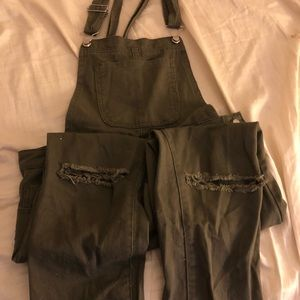 Army Green Distressed Knee Overalls